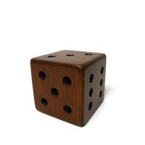 """vintage wooden dice . 3"""" x 3"""" x 3"""""""